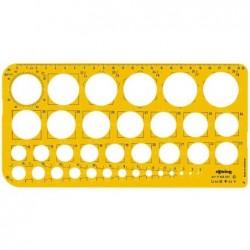 ROTRING gabarit de cercles 1 36 mm, rayons 6,10,16, 20 mm (R840633/S0221691)