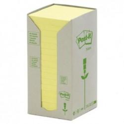 POST-IT Lot de 16 Notes adhésives recyclée 76 x 76 mm Jaune