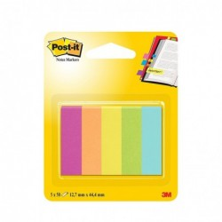 POST-IT Blister 5 x 50 Marque-pages Papier 12,7x44,4 mm Assortis