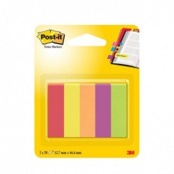 POST-IT Blister de 5 x 50 Marque-pages papier 12,7x44,4 mm 5 Couleurs