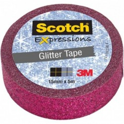 SCOTCH Ruban Adhésif Créatif 15 mm x 5 m Glitter Tape Rose