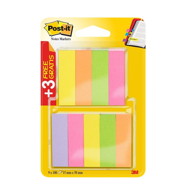 POST-IT Pack 6+3 Index Marque page 670 100f 5 couleurs Néon 15x50 mm
