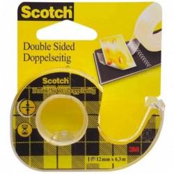 SCOTCH Dévidoir Ruban adhésif double face 665 12 mm x 6,3 m à l'unité
