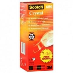SCOTCH Boite de 8 rouleaux adhésif Cristal Clear 600, 19 mm x 33 m