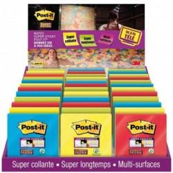 POST-IT Présentoir de comptoir de 48 blocs Notes Super Sticky 654 néon