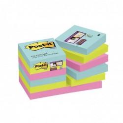 POST-IT Lot de 12 blocs Notes Super Sticky Collection Miami 47,6 x 47,6mm
