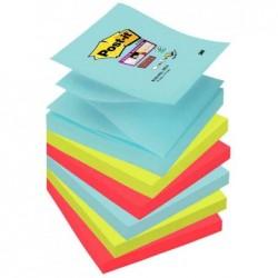 POST-IT Lot de 6 Bloc-notes adhésifs Super Sticky Z-Notes 76 x 76 mm Miami