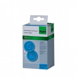 SIGEL Jetons Plastique Motif G en relief Bleu Diamètre 25 mm Lot de 100