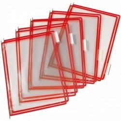 TARIFOLD T-display Lot de 10 Plaques pochette pivotante A4 Rouge