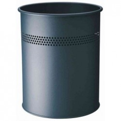 DURABLE Corbeille à papier METALLIQUE Ronde Diam 26 cm H 31 cm 15 litres Anthracite