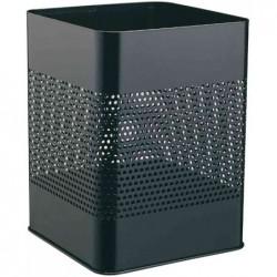 DURABLE Corbeille à papier métallique perforées 18,5 L Carrée  H 32 cm Noir