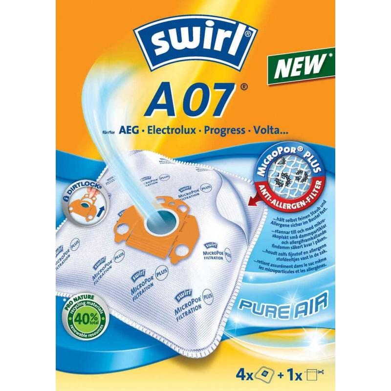 SWIRL Lot de 4 sacs aspirateur A 07 + 1 filtre microporPlus