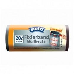 SWIRL Rouleaux 15 Sacs poubelle 20 Litres avec bande de fixation élastqiue Noir