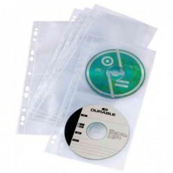 DURABLE Pqt 10 pochettes CD/DVD COVER LIGHT S l160mm pour 4 CD PP