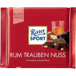 RITTER Tablette 100g Chocolat au Lait Rhum Raisin Noix