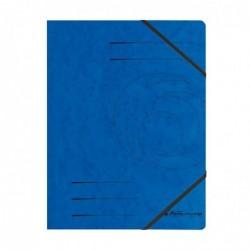 HERLITZ Lot de 5 chemises à élastique Colorspan A4 en carton 355 g Bleu