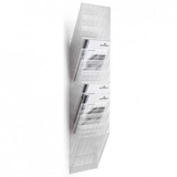 """DURABLE Porte-brochure mural """"FLEXIBOXX 12 Cases A4  Hauteur 1115 mm Transparent"""