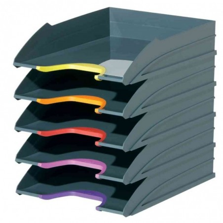 DURABLE Lot de 5 bacs à courrier VARICOLOR Gris Anthracite / Couleur Assorties