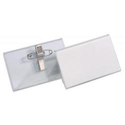 DURABLE Boite de 25 Porte-badges en acrylique avec Pince combi 40 x 75 mm
