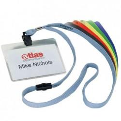 DURABLE Pqt 10 Badges 90 x 60 mm avec lacet textile Rouge