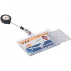 DURABLE double porte-cartes avec enrouleur, transparent