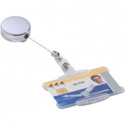 DURABLE Porte-badge chromé, argent-métallique