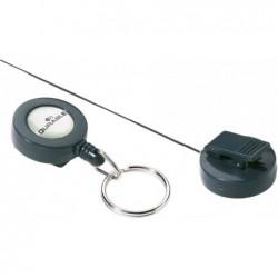 DURABLE Porte-badge enrouleur 80 cm avec anneau porte-clés Anthracite Sans Badge