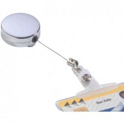 DURABLE Porte-badge chromé, argent-métallique avec enrouleur mécanique (vendu sans badge)