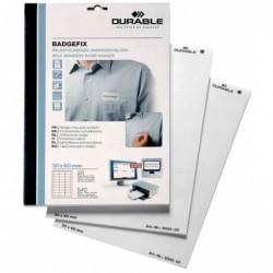 DURABLE Bte 240 Badges BADGEFIX Imprimables Soie Autocollant 40 x 75 mm 200g Blanc