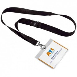 DURABLE Badge 90x60mm avec lacet textile Noir Lot de 5
