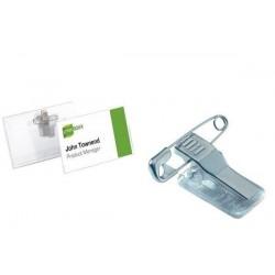 DURABLE Pack de 5 porte-badges PVC avec clip combi 40 x 75 mm
