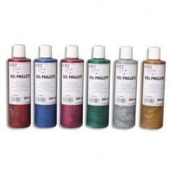 ARTLINE ART PLUS Boîte de 6 x 250ml de gel pailleté couleurs assorties