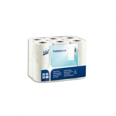 LOTUS Paquet de 12 rouleaux Papier toilette traditionnel 2 plis 200 f patte velours