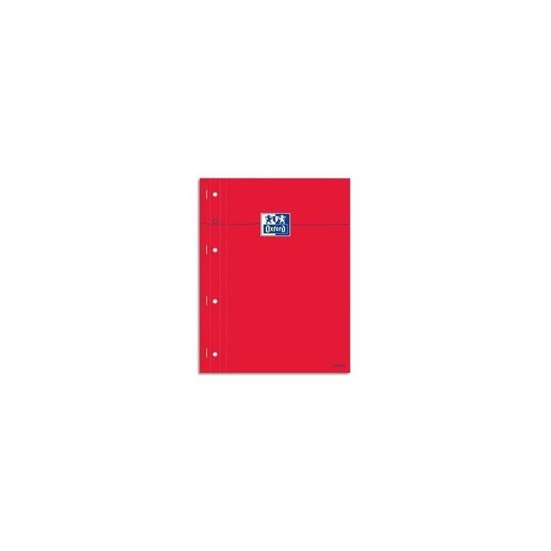 OXFORD Bloc étudiant160P perforées 80g 22,5x29,7cm seyès Couverture carte enduite rouge
