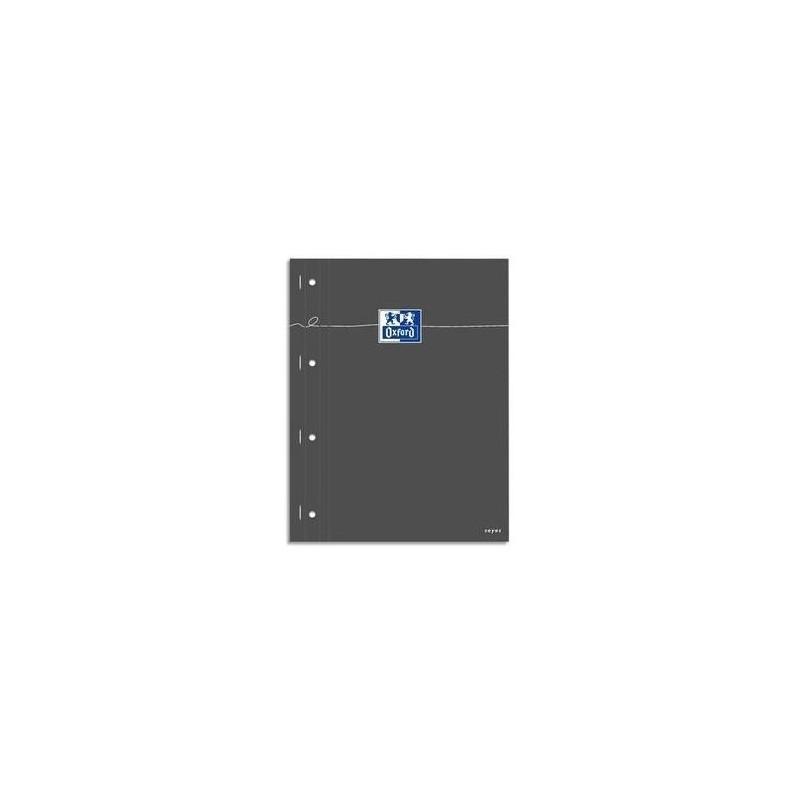OXFORD Bloc étudiant160P perforées 80g 22,5x29,7cm Seyès Couverture carte enduite grise