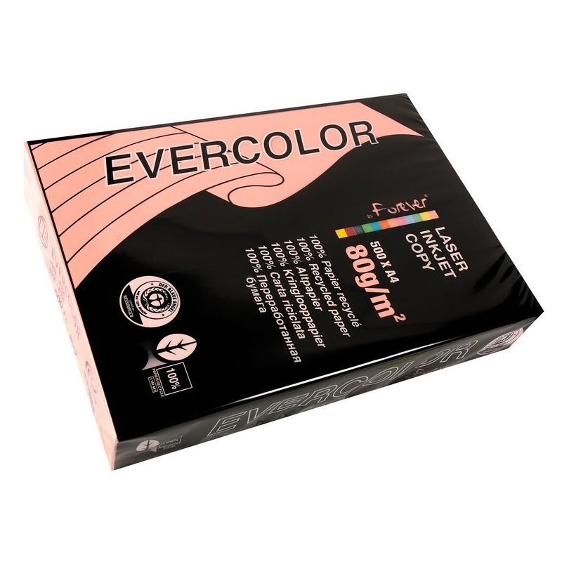 CLAIREFONTAINE Ramette de 500 feuilles papier couleur recyclé EVERCOLOR 80gr format A4 rose