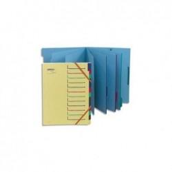 EXTENDOS Trieur 12 compartiments canari, en carte forte avec élastique de fermeture