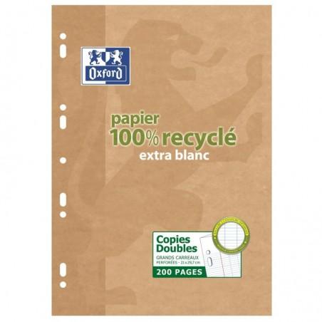 OXFORD Etui 200 pages copies doubles 21x29,7cm seyès Papier 90g 100% recyclé Blanc
