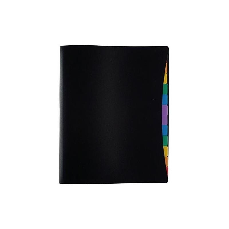 VIQUEL Protège-documents RAINBOW 12 onglets couleur. Format A4 Noir