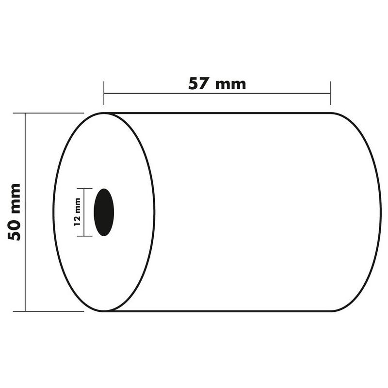 EXACOMPTA Bobine Caisse 1 pli 60g Format 57 x 50 x 12 mm x 20 m Offset Blanc
