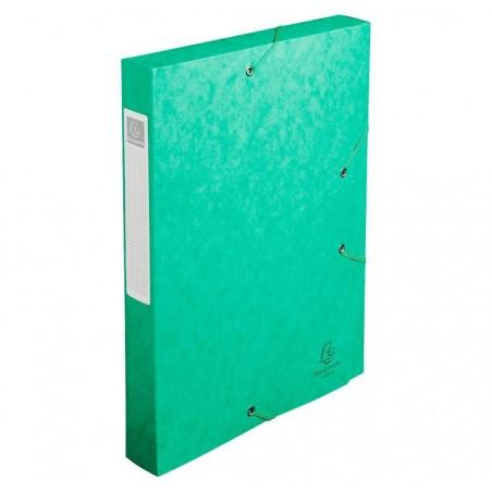 EXACOMPTA Chemise 3 rabats et élastique Exatobox dos de 4 cm, en carte lustrée 5/10e vert