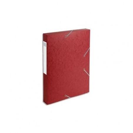 EXACOMPTA Chemise 3 rabats et élastique Exatobox dos de 4 cm, en carte lustrée 5/10e rouge