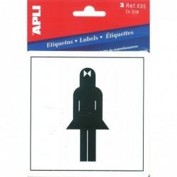 APLI Pictogramme PVC Adhésif Toilette dames 114 x 114 mm