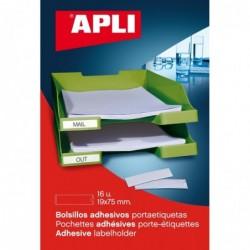 APLI Pochette de 16 porte- étiquettes adhésifs 19 x 75 mm avec Bristol