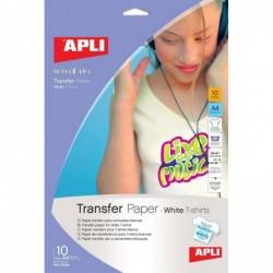 APLI Poch. 10 flles de papier transfert pour t-shirt blanc  210 x 297 mm