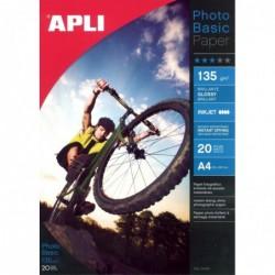 APLI Pochette 20 feuilles papier photo brillant 135g 210 x 297 mm
