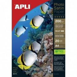 APLI Pochette 20 feuilles papier photo satin  210 x 297 mm 200g