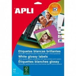 APLI Pochette 40 étiquettes photo brillante coins arrondis laser  88,9 x 127 mm