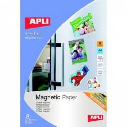 APLI Etui de 8 feuilles A4 papier magnétique 640g Jet d'encre Blanc