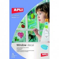 APLI Poch. 5 flles de film transparent pour fenêtre  210 x 297 mm
